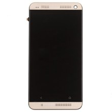 Gold LCD Touch Screen Digitizer Assembly with Front Housing for HTC One M7 801e OEM