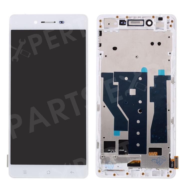 Assembly TFT LCD Screen and Digitizer Assembly + Frame for Oppo R7 - White, OPPO R7