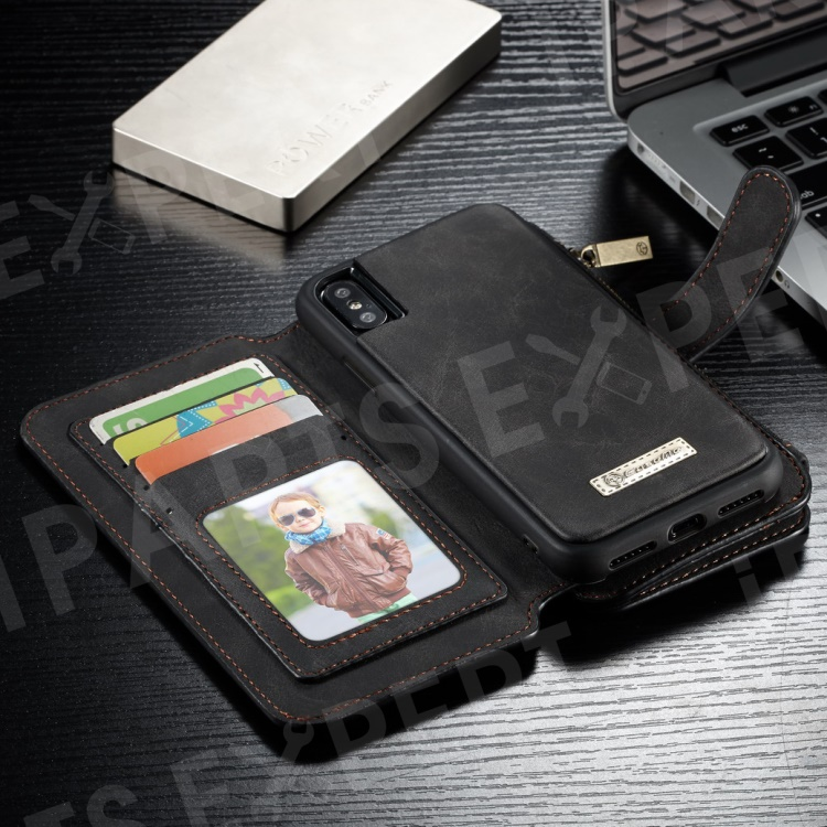 93f91e2db CASEME 007 Series Detachable 2-in-1 Zipper Wallet Split Leather Cell Phone  Case for iPhone Xs 5.8 inch - Black