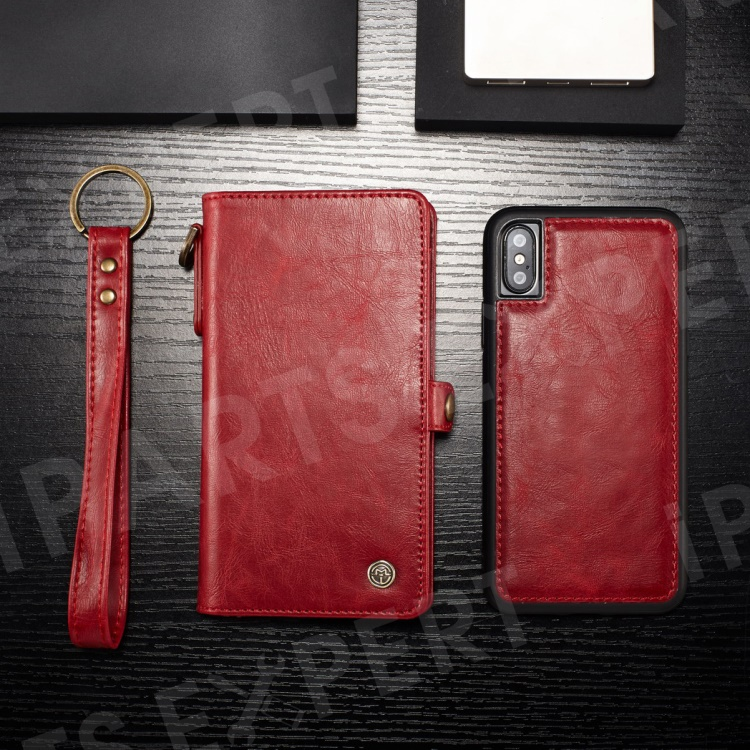 Купить со скидкой CASEME Detachable 2-in-1 Split Leather Wallet Phone Cover for iPhone Xs 5.8 inch - Red