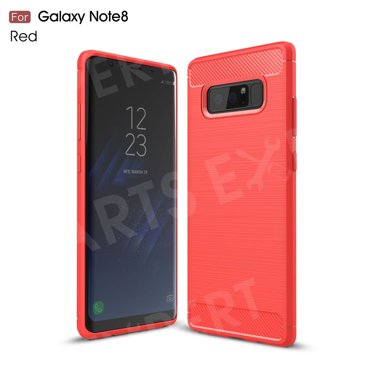Carbon Fiber Brushed Soft TPU Phone Protective Casing for Samsung Galaxy Note 8 - Red, Galaxy Note 8