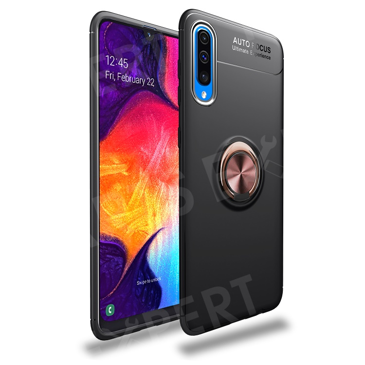 LENUO for Samsung Galaxy A70 Metal Ring Bracket TPU Phone Cover Built-in Magnetic Metal Sheet - Black / Rose Gold, Galaxy A70