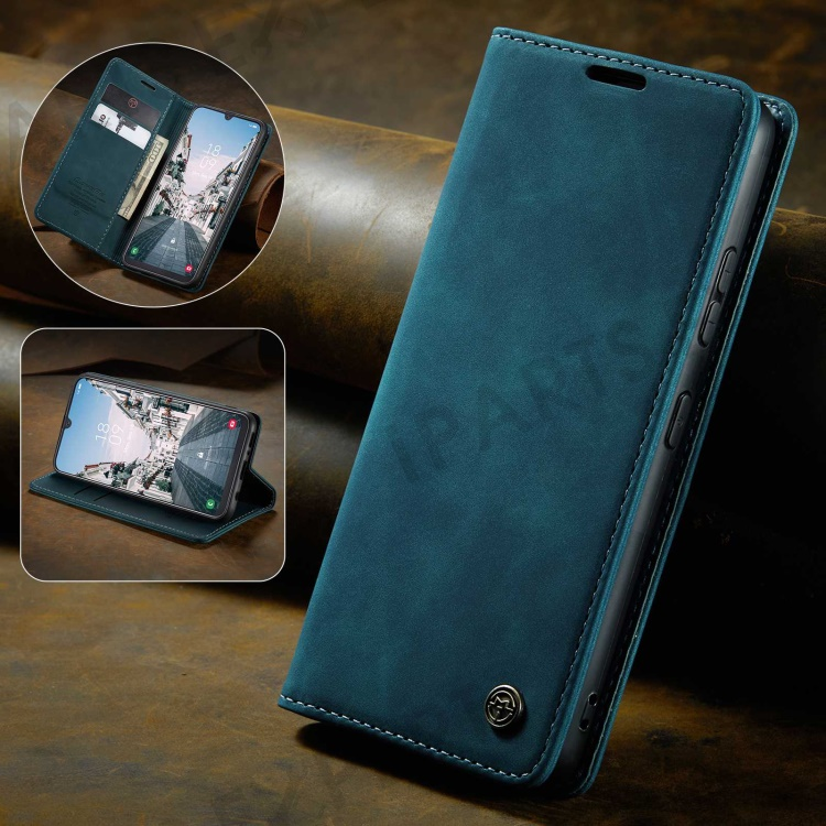 CASEME 013 Series Auto-absorbed Leather Wallet Stand Case for Samsung Galaxy A40 - Blue, Galaxy A40