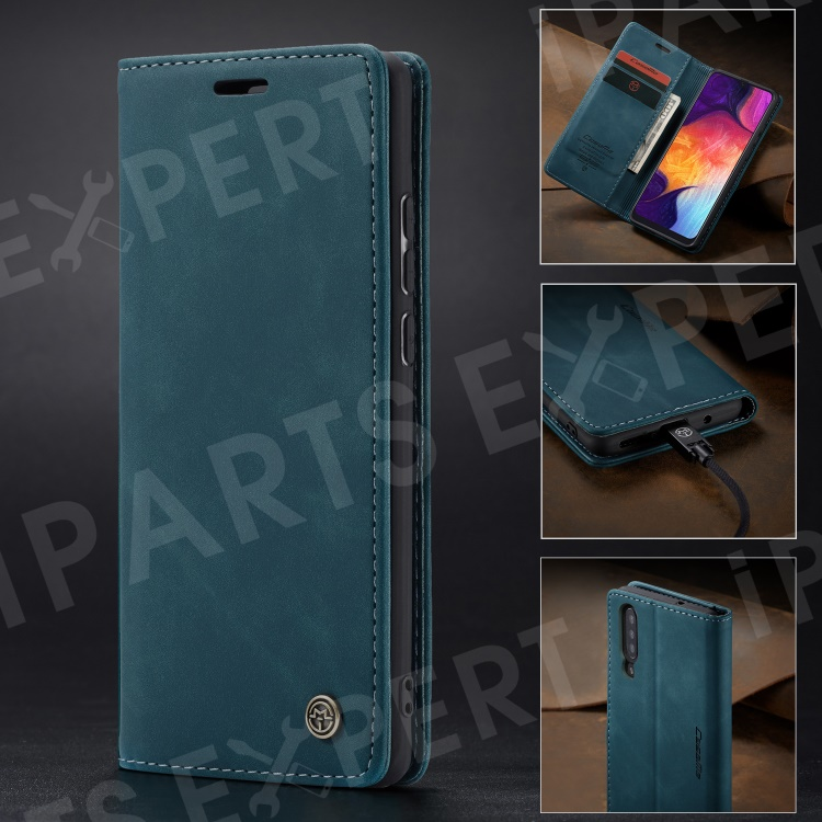 Купить со скидкой CASEME 013 Series Auto-absorbed Leather Wallet Case for Samsung Galaxy A50 - Blue