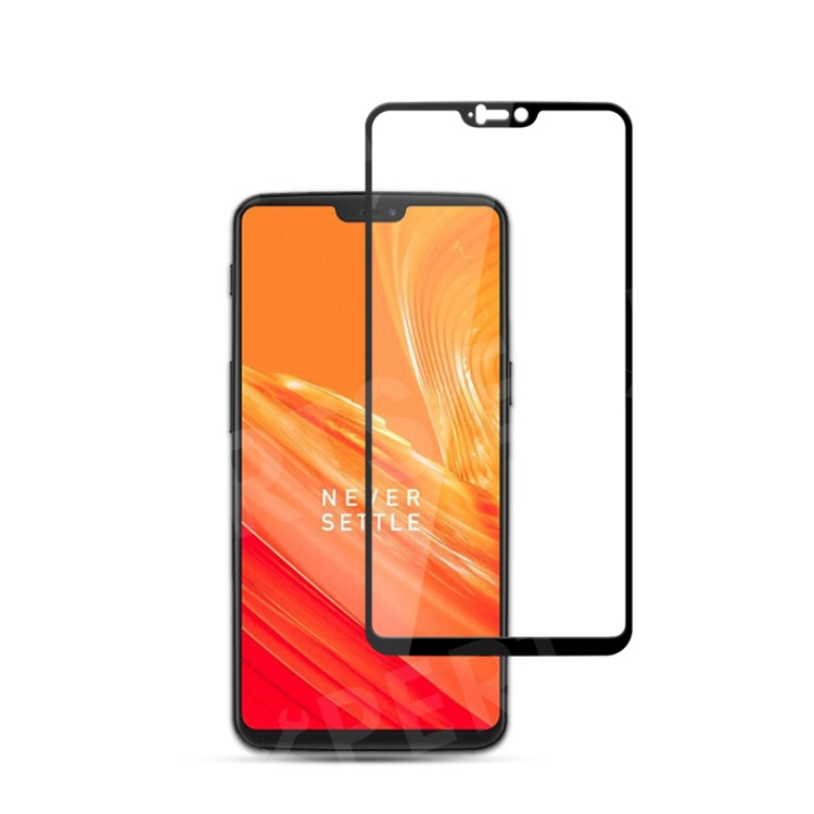 MOCOLO Silk Print Complete Coverage Tempered Glass Screen Protector for OnePlus 6 - Black, OnePlus 6