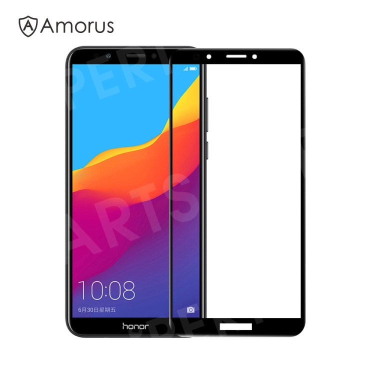 AMORUS Tempered Glass Screen Protector [Full Size] [Full Glue] [9H]  [Anti-explosion] for Huawei Y6 (2018) / Honor 7A (without Fingerprint  Sensor) -