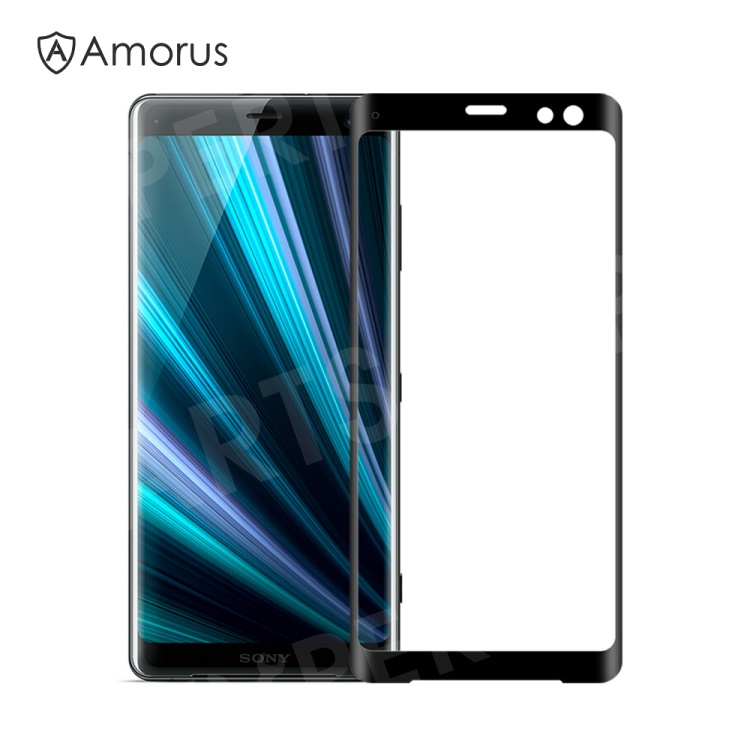 Купить со скидкой AMORUS for Sony Xperia XZ3 3D Curved Tempered Glass Anti-explosion Full Screen Protector - Black
