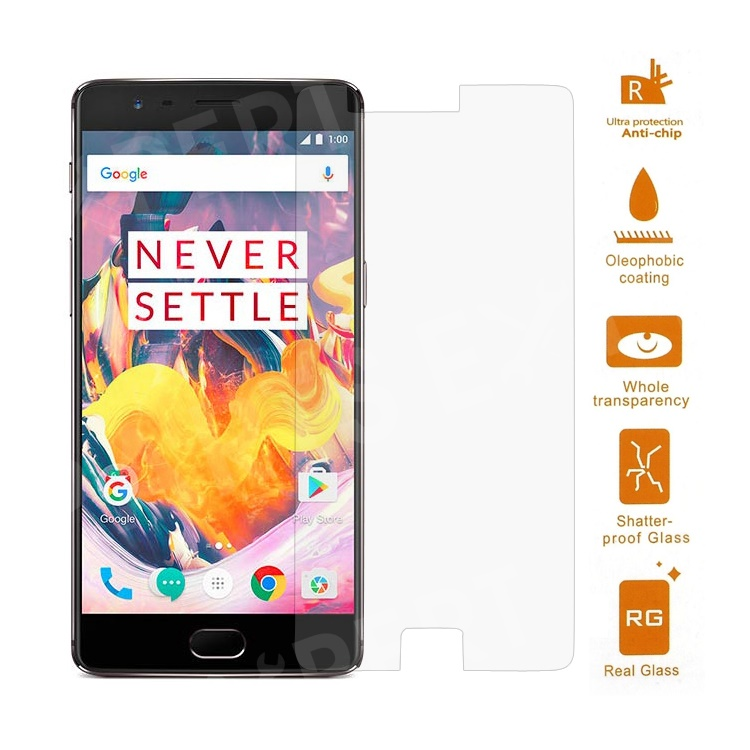 For OnePlus 3T / 3 0 3mm Tempered Glass Screen Protector Guard Film (Arc  Edge)
