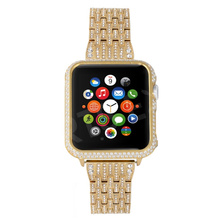 best website c8252 b3d75 Metal Rhinestone Decor Watch Band + Protective Case for Apple Watch Series  4 40mm / Series 3 2 1 38mm - Gold Color