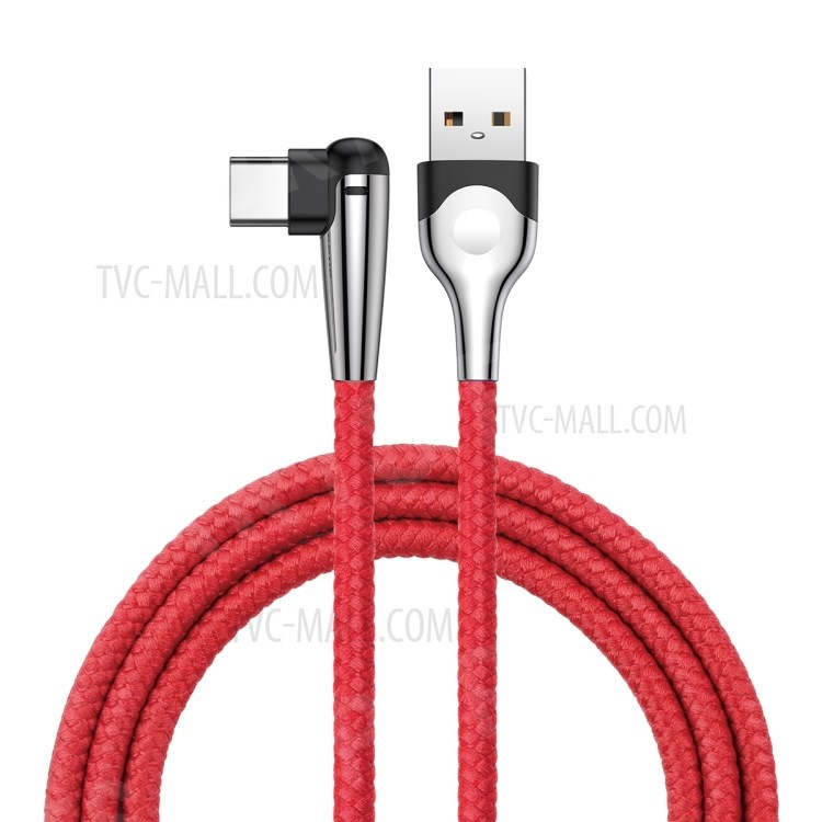 BASEUS 2M MVP Elbow 2A Fast Charging Right Angle 90-Degree Type-C Data Charging Cable - Red, HTC Desire 12+