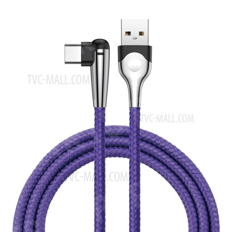 BASEUS 2M MVP Elbow 2A Fast Charging Right Angle 90-Degree Type-C Data Sync Charging Cable - Purple, HTC Desire 12+