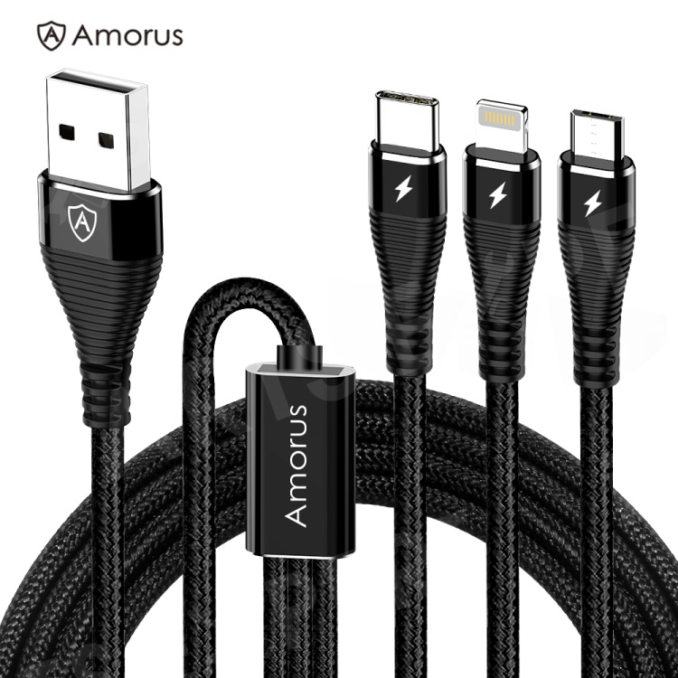 Cell Phone Cables Wholesale Nokia 7 plus,AMORUS 1.2m 3-in-1 Lightning 8 Pin + Micro USB + Type-C Charge Cable - Black ipartsexpert.com