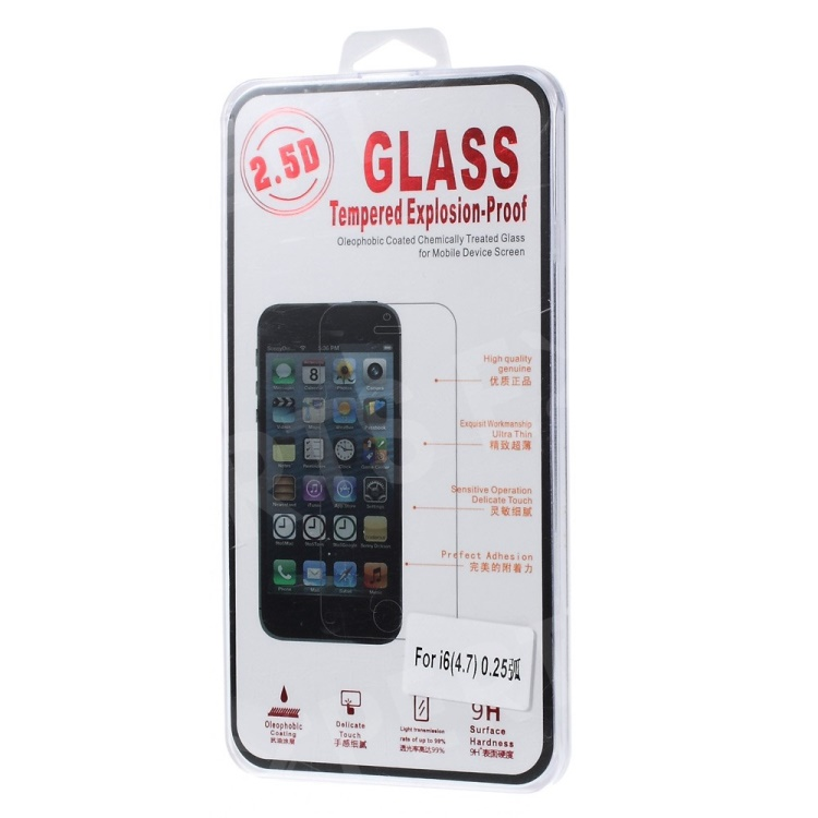 2.5D Glass Tempered Explosion-proof Screen Protector Film for iPhone 6 4.7 inch (Arc Edge)