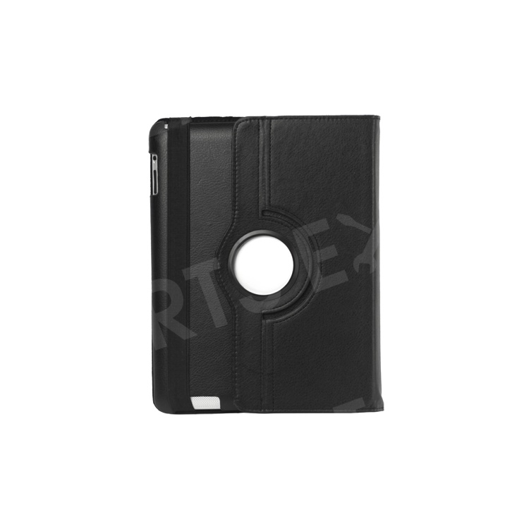 360 Degree Rotating New iPad 2 3 4 Leather Case Cover with Stand - Black