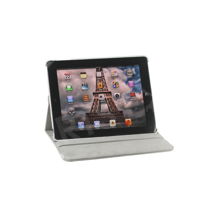 360 Degree Rotating New iPad 2 3 4 Leather Case Cover with Stand - White